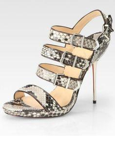 Snakeskin Buckled Straps Womens High Heels