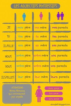 Les adjectifs possessifs Les adjectifs possessifs poster (image only) French Adjectives, French Verbs, French Grammar, French Phrases, English Grammar, French Expressions, French Language Lessons, French Language Learning, French Lessons