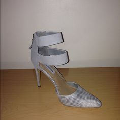"""Steve Madden Primaaa Grey Mult D'Orsay Pumps/Heels - Leather Upper - Manmade Outsole - Zipper in Back - Padded Insole for Added Comfort - Pointed Toe - Heel Height Measures Approx. 4"""" - Steve Madden Shoes Heels"""