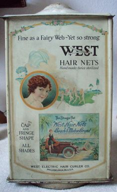 1921 WEST ELECTRIC HAIR PRODUCTS COUNTER TOP DISPLAY CABINET GRAPHIC, COMPLETE