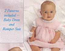 Knit Baby Dress and Romper Vintage Knitting Pattern pullover onsie baby babies clothes shower gift leggings pinafore pdf instant download