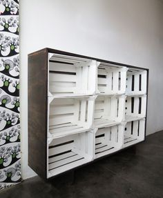 I upcycled fruits crates to create a storage unit. I first painted the crates, then, I make a frame using …