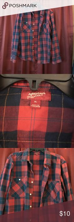 Red and blue plaid button down Plaid button down. Red and blue Arizona Jean Company Shirts Casual Button Down Shirts