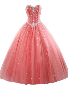 AIJIAYI Women's Sweetheart Ball Gown Beads Tulle Prom Quinceanera Dresses Coral US Size 4. Fabric:Tulle with Beads and Crystals. Silhouette:Sweetheart, Ball Gown, Sleeveless, Floor Length. Custom made process (from the date we receive your payment and measurements) will take about 1-2 weeks.The the delivery time is about 10 days. the total time is about 25 days. Notice:Before order, Please refer to OUR Size Chart and measuring guide at the LEFT. Suitable for prom, ball, wedding, evening...