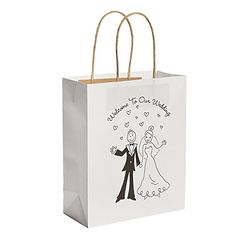 12 Happy Couple Kraft Paper Wedding Gift Bags  Welcome to our Wedding White ** More info could be found at the image url.