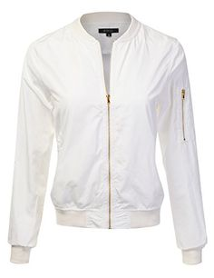 DRESSIS Womens Lightweight Zipper Front Bomber Jacket OFFWHITE S ** To view further for this item, visit the image link.(This is an Amazon affiliate link)