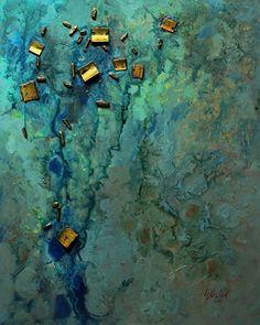 Sunken Treasure, 030815 by Carol Nelson mixed media ~ 30 inches x 24