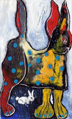 Original LABEDZKI Painting Outsider Art World's Tallest Bunny 8 5x14 Inches | eBay