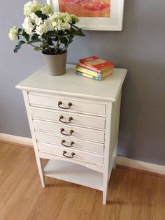 Vintage music sheets 5 drawer cabinet up-cycled painted Annie Sloan