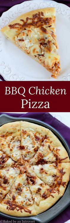 Homemade BBQ Chicken Pizza topped with BBQ sauce, chopped chicken, onions, and tons of cheese. Our family favorite pizza! via @introvertbaker