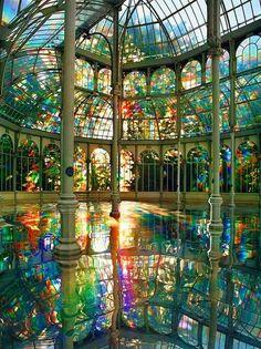 Kimsooja's Room of Rainbows in Crystal Palace Buen Retiro Park, Madrid Spain