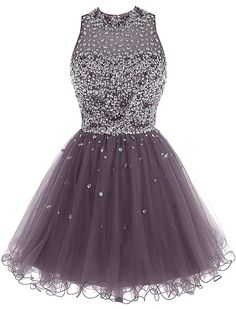 Short Tulle Beading Homecoming Dress Prom Gown, Rhinestones
