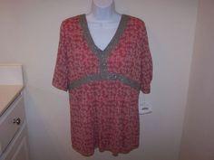 J H Collectibles Women's Top XL Multi-Color Short Sleeve 100% Nylon NWT