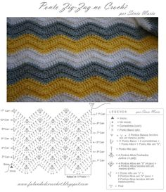 Beautiful Picture of Crochet Zig Zag Pattern Punto Zig Zag Crochet, Zig Zag Crochet Pattern, Stitch Crochet, Chevron Crochet, Crochet Diagram, Crochet Chart, Crochet Motif, Crochet Stitches, Crochet Baby