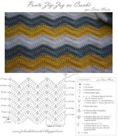 """FALANDO DE CROCHET"": MANTA DE CROCHE ZIG-ZAG - OLIVIA (crochet ripple blanket pattern free)"