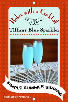 This Tiffany Blue Sparkler is an easy cocktail recipe that is perfect for a signature cocktail for weddings, showers, Valentine's Day, or any occasion. Easy Cocktails, Summer Cocktails, Cocktail Recipes, Father's Day Celebration, Easter Recipes, Party Recipes, Bridal Shower, Baby Shower, New Year's Crafts