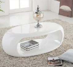 Straas Curved High Gloss Coffee Table In White