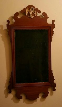 18th century mahogany chippendale mirror with original glass.