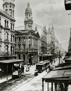 A tram travelling down George Street - Sydney's main road in the business district - in the early 1900s (pictured). Construction is now underway on the same street more than 100 years later to replace the tram system that was shut down in the 1960s