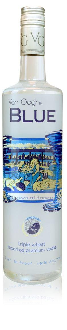 Van Gogh Vodka Blue: La excepcional mezcla de tres maíces, nos ofrece un neutral y sutil sabor de granos europeos enlazados con matices minerales, para crear un alcochol suave y muy bien equilibrado.       El regusto ofrece una esencia delicada y consistente de los granos de trigo y algunos minerales para la final seco y pulido.