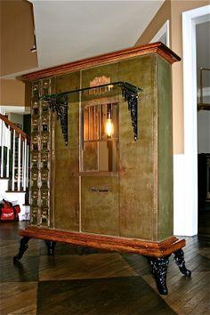 home decor interior design decoration image picture photo bar antique US Postal Box  liquor wine storage vintage