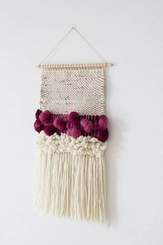 tapiz tejido lana Woven wall hanging Nursery wall art White pink nursery Shop the Ulla Embroidered W Weaving Loom Diy, Weaving Art, Tapestry Weaving, Hand Weaving, Weaving Wall Hanging, Wall Hanging Crafts, Wall Hangings, Weaving Textiles, Weaving Patterns