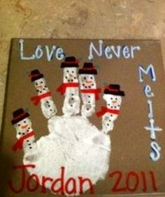 Fun Christmas handprint craft to do for a family. Snowmen represent each family member.