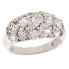 Epiphany Platinum Clad Sterling Diamonique Multi Stone Wide Band Ring 8 763P #Epiphany #Band