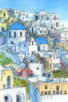 Santorini Oia 2 Greece art print from an original watercolor painting