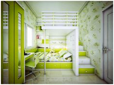 bedroom ideas for small rooms - Home Design Ideas Lime Green Rooms, Green Kids Rooms, Cool Kids Rooms, Room Kids, Child Room, Space Kids, Yellow Rooms, Daughters Room, Baby Room