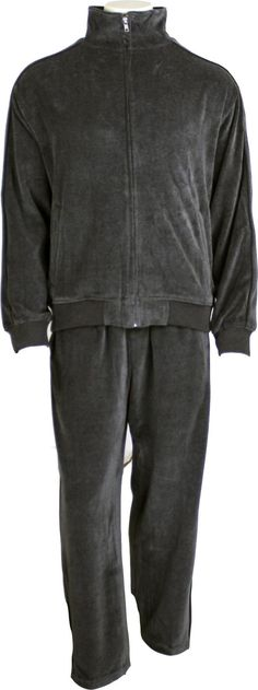 Heathered charcoal velour makes this sweatsuit the perfect match of comfort and style. Mens Velour Tracksuit, Charcoal Gray, Grey, Casual Attire, Perfect Match, Leather Jacket, Jackets, Style, Fashion