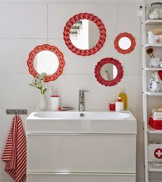 Espelhos decorados com papel