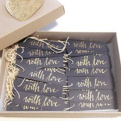 'with love' bonboniere gift tags wedding calligraphy