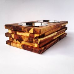 Nature wood dog/cat bowl stand!
