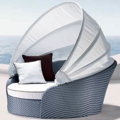 Eclipse White Cushions Outdoor Daybed with Tent Daybed Canopy, Patio Daybed, Outdoor Daybed, Outdoor Furniture, Outdoor Decor, Outdoor Living, Outdoor Seating, Sun Canopy, Bed Tent