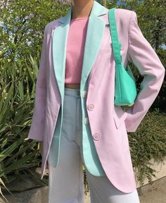 Shared by KRISTEN. Find images and videos about fashion, pink and blue on We Heart It - the app to get lost in what you love. Colourful Outfits, Retro Outfits, Trendy Outfits, Winter Outfits, Cute Outfits, K Fashion, Fashion Looks, Fashion Outfits, Fashion Trends