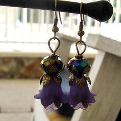 Antique Brone Filigree Flower dark Purple Lily by MystiqueCat, $15.00