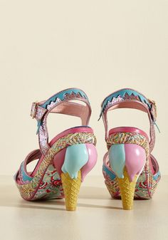 A Great Stepping Cone Heel. Give your wardrobe a delicious advantage by slipping into these pink and teal heels! #pink #prom #modcloth