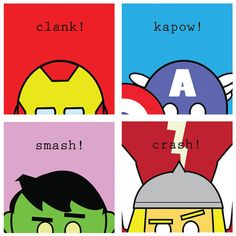 "Avengers Hero Squares - 4 Original 8.5"" x 8.5"" Marvel Comics Captain America, Thor, Iron Man and Hulk print"