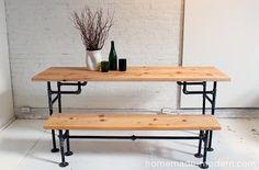 Homemade Modern - www.homemade-modern.com  - iron pipes + wood  table -  DIY tutorial