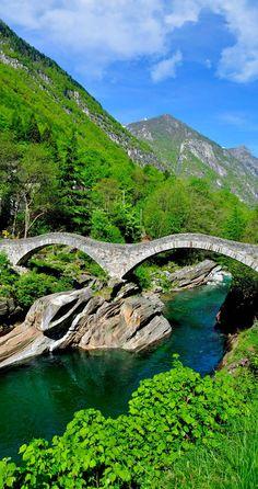 Roman Bow Bridge called Ponte dei Salti in Verzasca Valley - Ticino, Switzerland