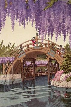 Detail from a May 1932 print of the wisteria at Kameido