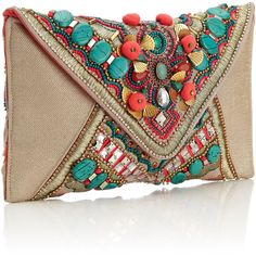 Accessorize Gem Salinas Beaded Clutch ($88) ❤ liked on Polyvore