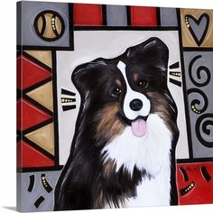 """""""Australian Shepherd Pop Art"""" canvas wall art prints by Eric Waugh from the Pop Art Dogs Collection, available at CanvasOnDemand.com."""