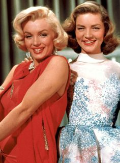"Marilyn Monroe and Lauren Bacall on the set of ""How To Marry A Millionaire"", 1953."