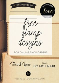 FREE stamp designs for online shop orders - plus instructions on how to order.