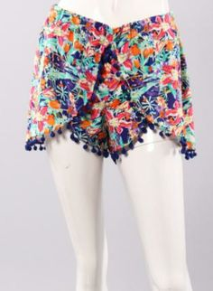 Tropical Pom Shorts,  Bottoms, tropical pompom multi colorful chic, Chic