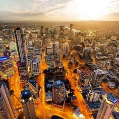 from a new perspective watching the vibrant gold streets come to life as the sun disappears behind the concrete jungle of buildings is simply spectacular Brisbane City, Spring Hill, Concrete Jungle, Have You Seen, New Perspective, Beautiful Landscapes, Buildings, Around The Worlds, Vibrant