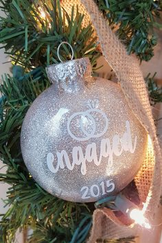 Diy personalized glitter ornaments glitter ornaments inexpensive engaged glitter christmas ornament glitter ornamentsdiy solutioingenieria Gallery