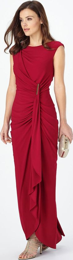 Phase Eight DONNA DRESS. Turn heads in this occasion maxi dress with a gathered and ruched effect at one side topped with a gold coloured metal bar. Styled with capped sleeves and a waterfall hem for a flowing feel. The ruched effect is repeated at the back surrounding the concealed centre back zip.#Dresses #PhaseEight #Women #fashion #obsessory #fashion #lifestyle #style #myobsession  #autumnwinter #beautiful #dresses #trend #fashiondesign #design #stylefashion #outfit #glamour